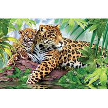 Quadro Decorativo Em Tela 90x60 Cm - Onca Pintada Selva
