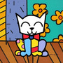 Quadro Decorativo Estilo Romero Brito Gato Pop Art - 45x45cm