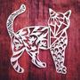 Quadro Decorativo Escultura Parede Vazada Mdf Crú 70cm -gato