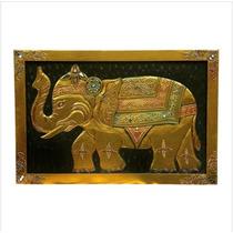 Quadro Elefante Dourado Madeira Importado Indonésia Lindo!
