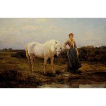 Mulher Cavalo Branco Tomando Agua De Hardy Na Tela Repro