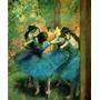 Bailarinas Dança Vestido Azul Jardim Pintor Degas Tela Repro