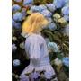 Garota Jardin Hortensias Flores De Blanche Na Tela Repro