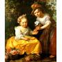 Lindas Meninas Brincando No Jardim Pintor Joy Tela Repro