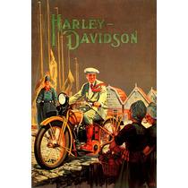 Harley Davidson Homem Moto Poster Repro