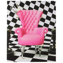 Tela Impressa Cadeira Rosa E Fundo Xadrez Fullway