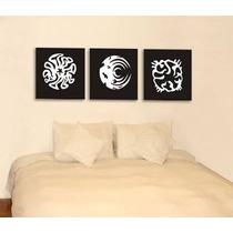 Trio Quadros Abstratos Decor Painel C/ Escultura Mdf Relevo