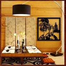 Quadro Decorativo Em Mdf Escultura De Parede-gueixa De Costa