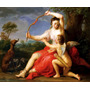 Mulher Cupido Cachorros Floresta Pintor Batoni Repro Na Tela