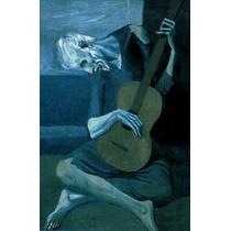 Homem Tocando Violão Guitarra De Picasso Na Tela Repro
