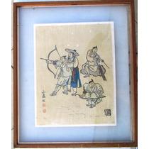 A Arte De Manejar O Arco - Gravura Oriental Assinada A Lápis