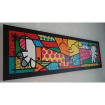 Releituras De Romero De Brito - O Abraço - Tam 50x150 Painel
