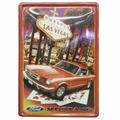 Placa Decorativa Metal Vintage Retrô Mustang Ford Las Vegas
