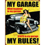 Placas Decorativas My Garage My Rules Fundo Amarelo Hot Rod