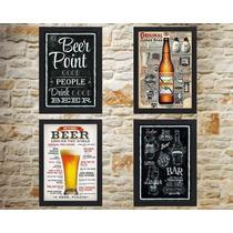 Kit 4 Quadros Cerveja Decoração De Bar 42x30cm Com Moldura