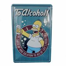 Quadro Metal Enfeite Homer Simpsons Cerveja 20 X 30 Cm
