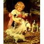 Menina Tomando Chá Cachorros Tapete Pintor Elsley Tela Repro