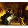 Cavalos Árabes Brigando Estábulo Pintor Delacroix Tela Repro