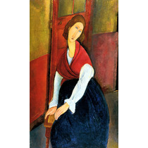 Elegante Mulher Vestido Azul Pintor Modigliani Tela Repro
