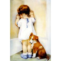 Criança Menina Vestido Chorando Castigo Cachorro Tela Repro