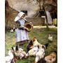Garota Alimentando Galinhas 1885 Pintor Osborne Tela Repro