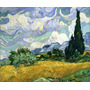 Campo De Trigo Com Ciprestes Pintor Van Gogh Na Tela Repro
