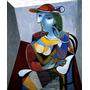 Mulher Sentada Com Lindo Chapéu Pintor Picasso Tela Repro