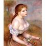 Jovem Garota Com Margaridas Pintor Renoir Repro Na Tela