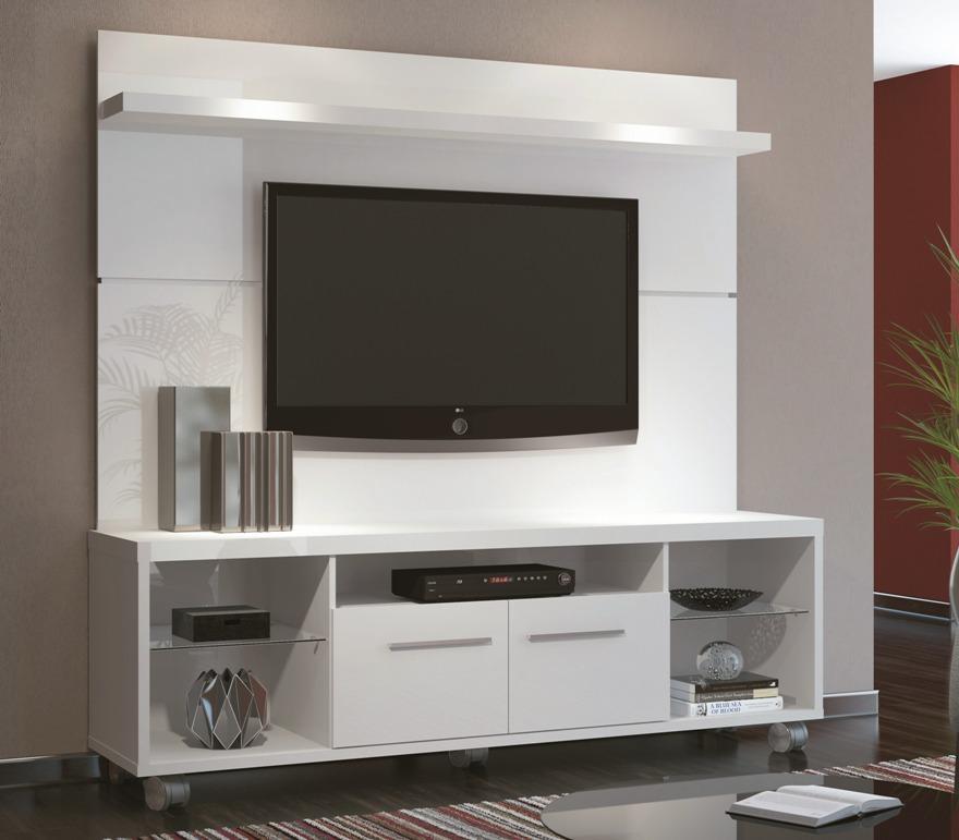 Rack Para Sala De Tv Branco ~ Rack Bancada Com Painel Personale Tv Até 60 Branco Rodizios  R$ 899