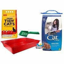Ração Cat Chow Peixe 10,1kg + Areia + Brindes Nestlé Purina