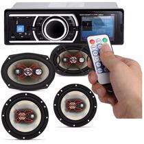 Toca Rádio Carro Mp3 Player Automotivo Usb + 4 Auto Falantes