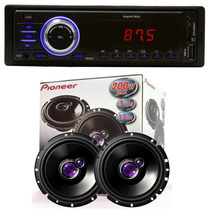 Toca Rádio Carro Mp3 Player Automotivo Usb + 2 Auto Falantes