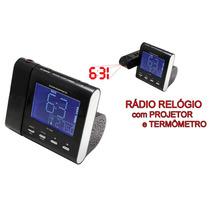 Rádio Relógio Com Projetor Visor Lcd Despertador Termômetro