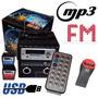 Radio Fm Portátil Mp3 Entrada Usb Pen Drive + Cartão Sd E P2