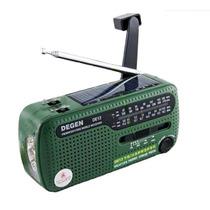 Rádio Recarregável Dínamo Energia Solar Pilha Aaa Degen De13