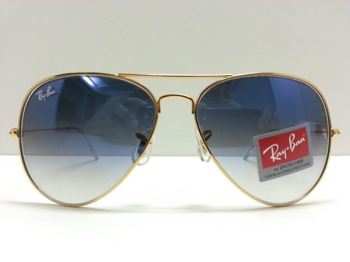 oculos ray ban aviator lente azul degrade