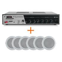 Kit Som Ambiente Frahm Slim4000 Usb Fm+ 6 Arandelas P/ Gesso