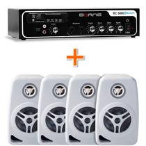 Kit Sonorização Ambiente Borne Rc 5000 + 4 Caixas Som Orion