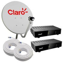 Kit Mini Parabolica Digital Claro Tv Livre Com 2 Pontos
