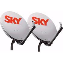 Kit 2 Antenas Sky 60 Cm Completo Frete Gratis