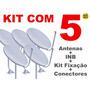 Kit Com 5 Antenas 60cm Ku Completa P Instalação