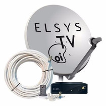 Kit Completo Oi Tv Livre Hd Elsys Com Antena 60cm +20 Metros