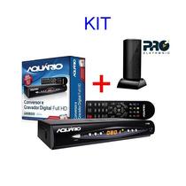 Kit Conversor Digital Tv Dtv 8000 Aquario + Antena Interna