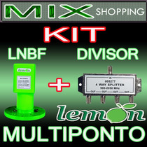 Kit Lnbf Multiponto Eletronico Banda C - 12ºk 65db + Divisor