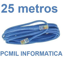 Cabo De Rede Cat5 Ethernet 25 Metros Internet Pronto P/ Usar