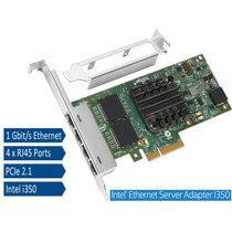 Placa De Rede Pci Express Intel I350-t4 1gbps Quad Port