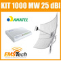 Kit Cliente Wireless 1.000 Mw + Antena 25 Dbi Cabo 10 Metros
