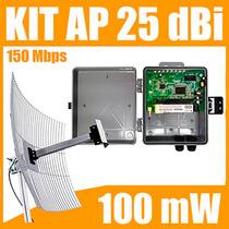 Kit Cliente Wireless 2,4 Ghz 150 Mbps Com Antena De 25 Dbi