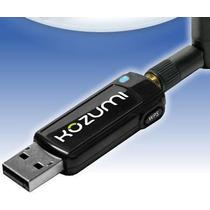 Adaptador Usb Wireless Kozumi 500mw Reais Com Antena 2 Dbi