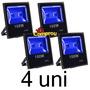 Kit 4 Refletor Led Holofote Azul 100w Bivolt Pronta Entrega